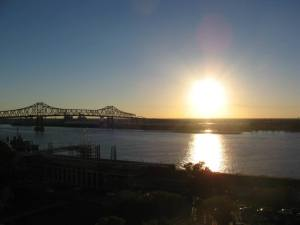 watching sunset on ms river