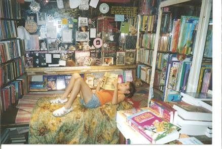 Katie Shakespeare and Company spending the night and reading a book